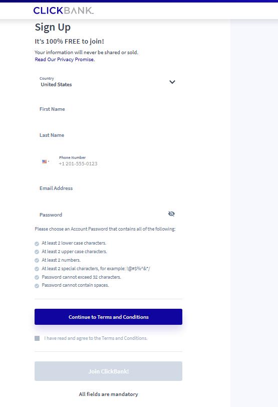 التسجيل في ClickBank